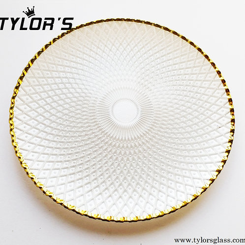 TYLORS White Charger Plates with Gold Rim,120pcs/Lot