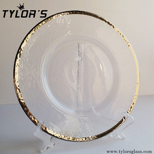 Tylors Hammered Platinum Rim Glass Charger Plates,120pcs/Lot