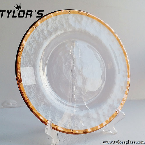 Tylor's Hammered Rose Gold Glass Charger Plates Wholesale,120pcs/Lot