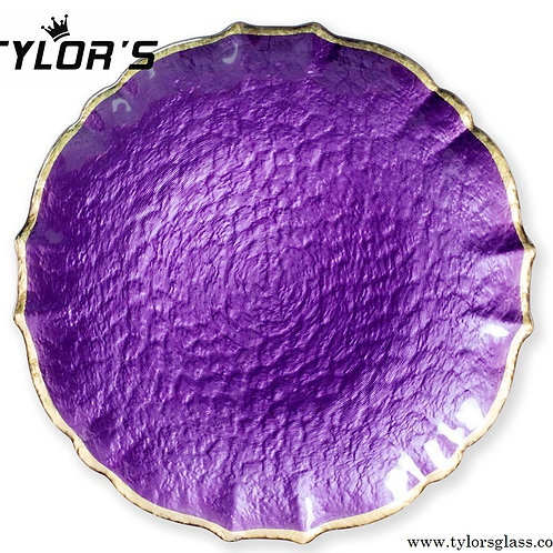 TYLORS Purple Charger Plates with Silver Rim,120pcs/Lot