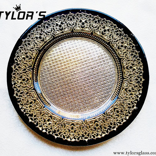 Cheap Decorative Black with Gold Charger Plates,120pcs/Lot