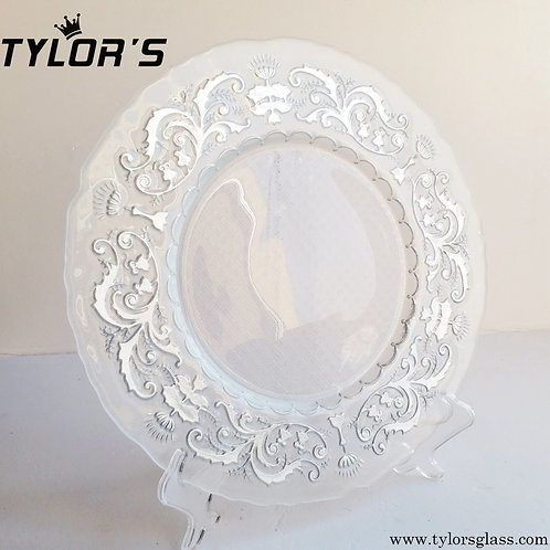 Bulk Clear and Silver Decorative Charger Plates,Set of 120pcs