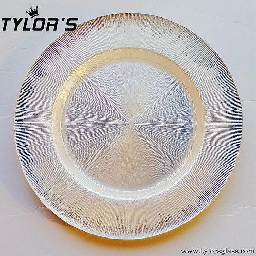TYLORS Silver Brush White Charger Plates,120pcs/Lot