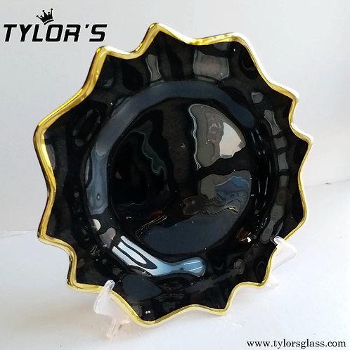 Tylors Scalloped Gold Rim Black Charger Plates,120pcs/Lot
