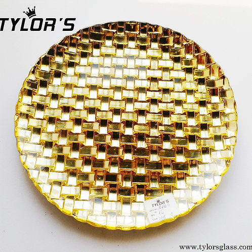 Braided Pattern Gold Charger Plates,120pcs/Lot