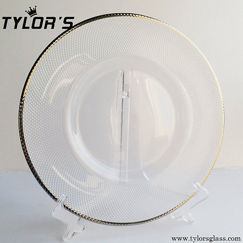 Tylor's Wholesale Silver Rim Charger Plates, Set of 120pcs
