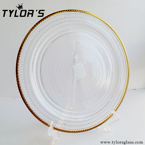 Tylors Clear Beaded Charger Plates with Gold Rim,120pcs/Lot