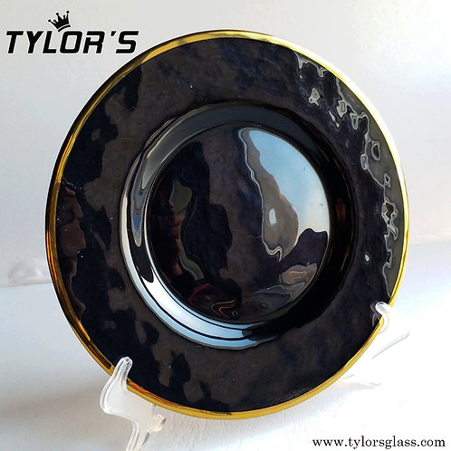 TYLORS Black Charger Plates with Gold Rim,120pcs/Lot