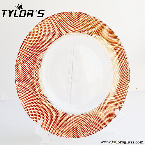 Tylor's Rose Gold Glass Charger Plates for Wedding, Set of 120pcs