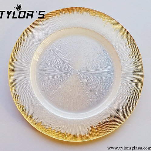 TYLORS Gold Brush White Charger Plates,120pcs/Lot