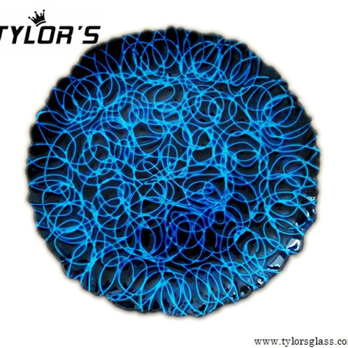 Black & Blue Wire Glass Charger Plates, Set of 120pcs