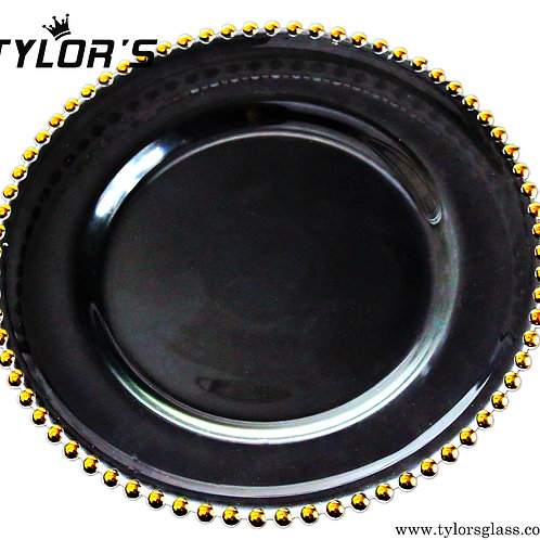 Cheap Black Charger Plates with Gold Beaded,120pcs/Lot