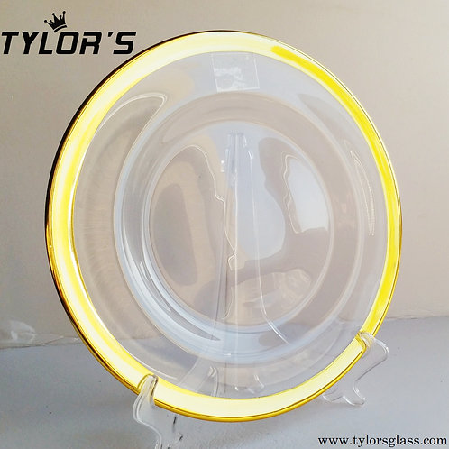 Tylors Crystal Glass Charger Plates with Wide Gold Rim, Set of 120pcs