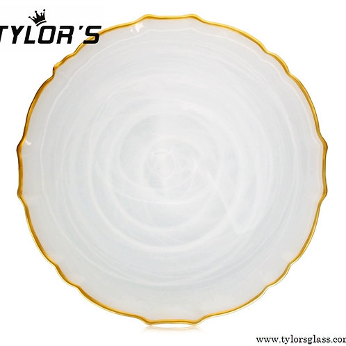 TYLORS White Cloud Charger Plates with Gold Rim,120pcs/Lot