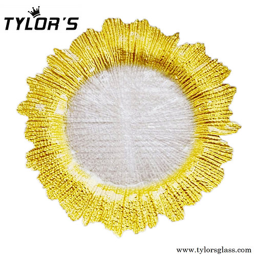 Wedding Gold Rim Flora Charger Plates, 120pcs/Lot