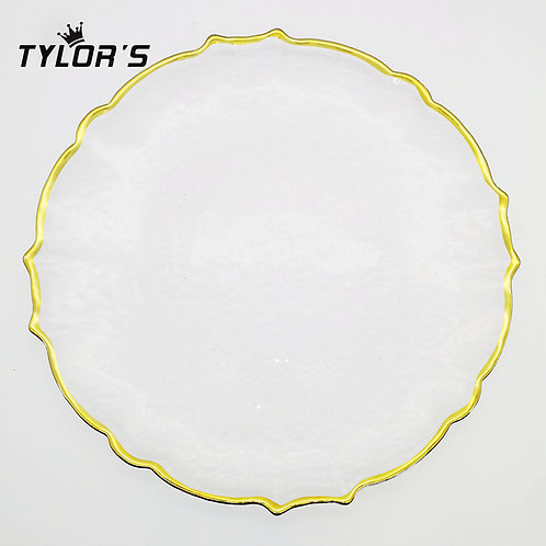 Elegant Gold Rim Glass Charger Plates