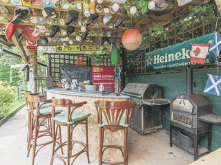 Chance to buy house with bar and hot tub in garden