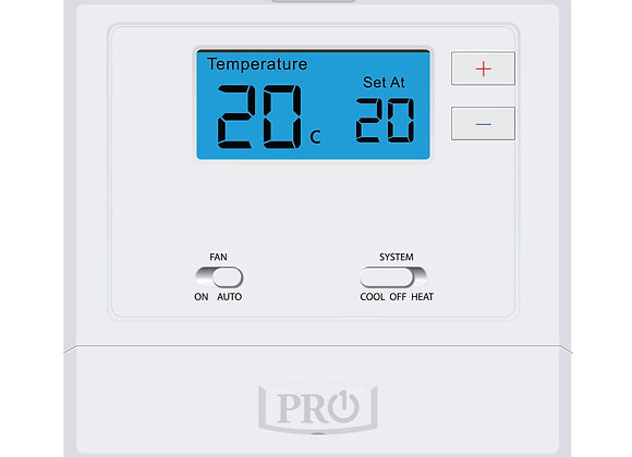 T605-2  Pro1 Thermostat  5+1+1 Progammable, 1H/2C with 2sq. Inch display