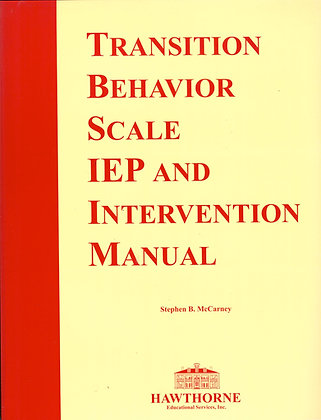 Transition IEP and Intervention Manual (TBS-3) 04720