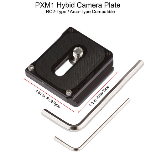 PXM1 Hybrid Manfrotto-Type RC2 with Arca Swiss type Plate built in.