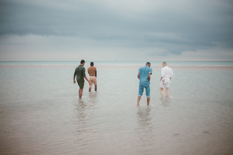 Four men are walking on the seashore with their back to the camera