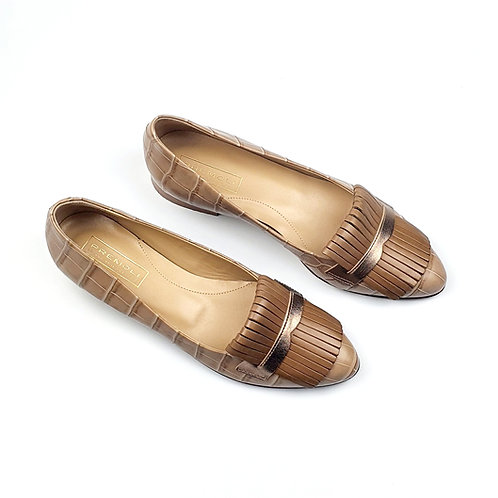 Croc Leather Pumps.