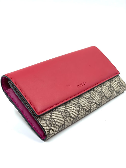 GUCCI GG Leather Red & Pink Wallet