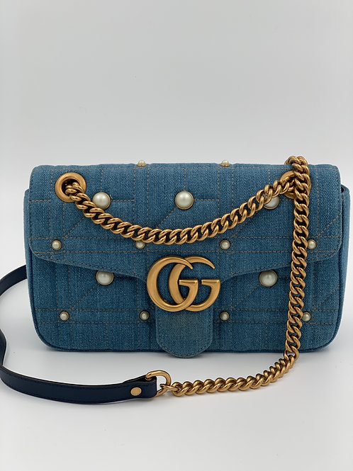 Gucci Marmont Denim Pearls