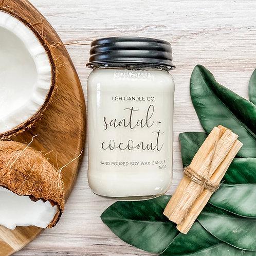 Santal + Coconut Mason Jar Soy Candle