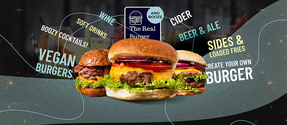 NEW Take away cups Real burger and Booze