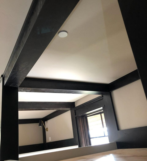 Custom Home in Truckee with heads over bunk bed beams