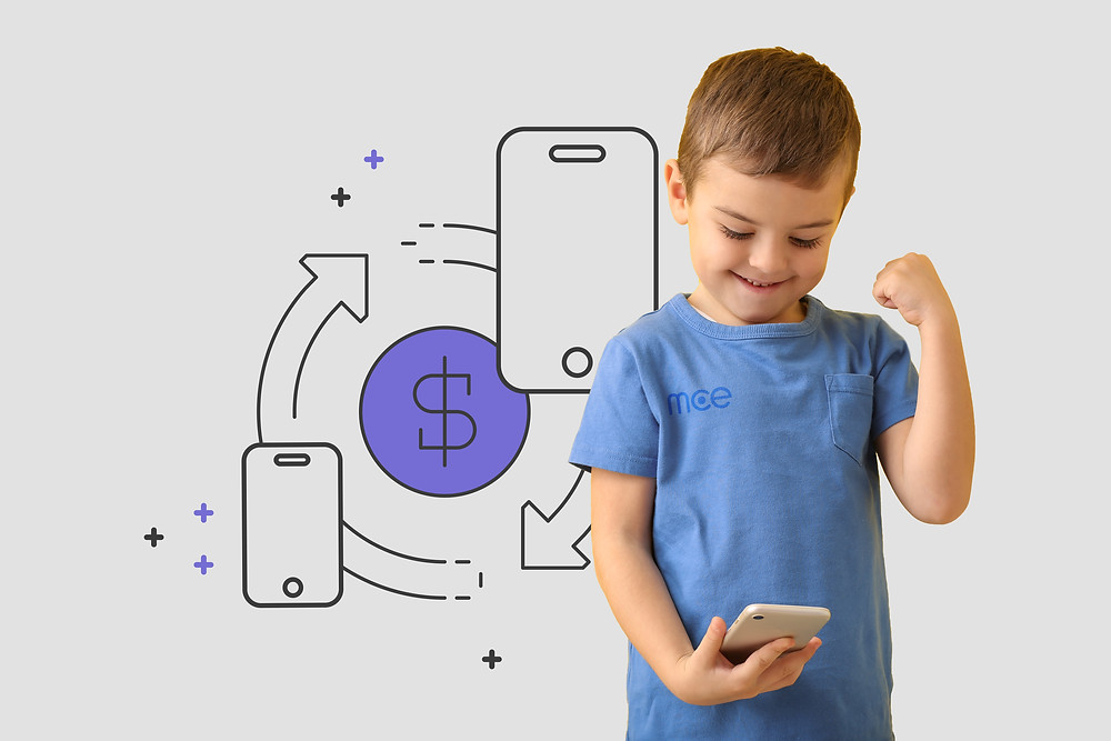 Toddler in a winning pose holding a phone