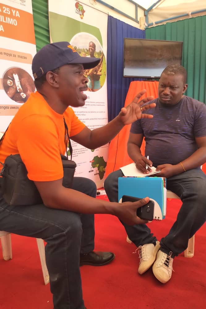 Dr Freddy Baijukya makes a point during a Q&A session with cassava sector stakeholder at the ACAI booth during the Nane Nane show