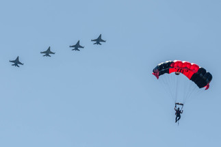 Black Dager with F-16 Fighting Falcon Fly-over