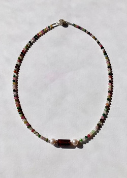 #1160 Faceted Tourmaline & Pearl