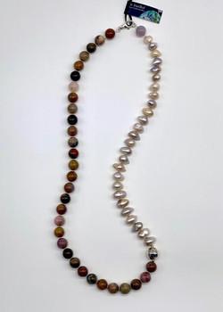 #1127 Petrified wood opalite & pearl $325