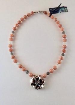 #937 Pierre de lune rose & argent $195