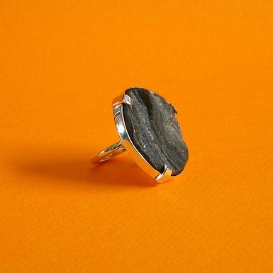 SUPERFÍCIE : : anel de prata 925 e geodo de ágata