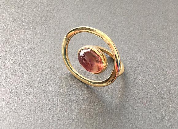 ÓRBITA TURMALINA : : anel de ouro 18K e turmalina rosa