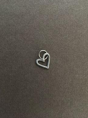 CORAÇÃO AG BRANCO : : pingente de prata 950 fosco