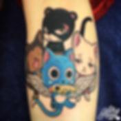 fairytail anime shonen jump kawaii cats by alex heart at shop 9 3/4 Auckland North Shore tattoo studio