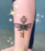 Harry Potter flying key Tattoo tattoo by Keith Lin Auckand Tattoo Artist Shop 9 3/4 pop cultre tattoo studio