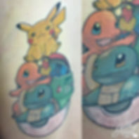pokemon starter pokeball pikachu charmander bulbasaur squirtle anime kawaii tattoos by alex heart at shop 9 3/4 Auckland North Shore tattoo studio