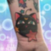 sailor moon luna p cat black magical anime kawaii sailormoon tattoo by alex heart at shop 9 3/4 Auckland North Shore tattoo studio