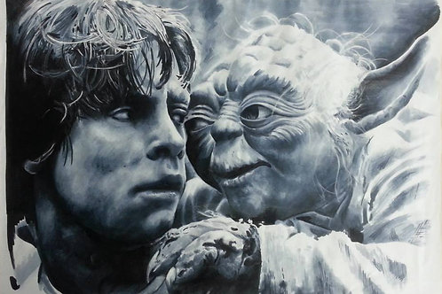 Yoda and Luke Art Print by Adam Cooley