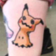 Mimikyu pokemon tattoo by Keith Lin auckland tattoo artist at shop nine and three quarters