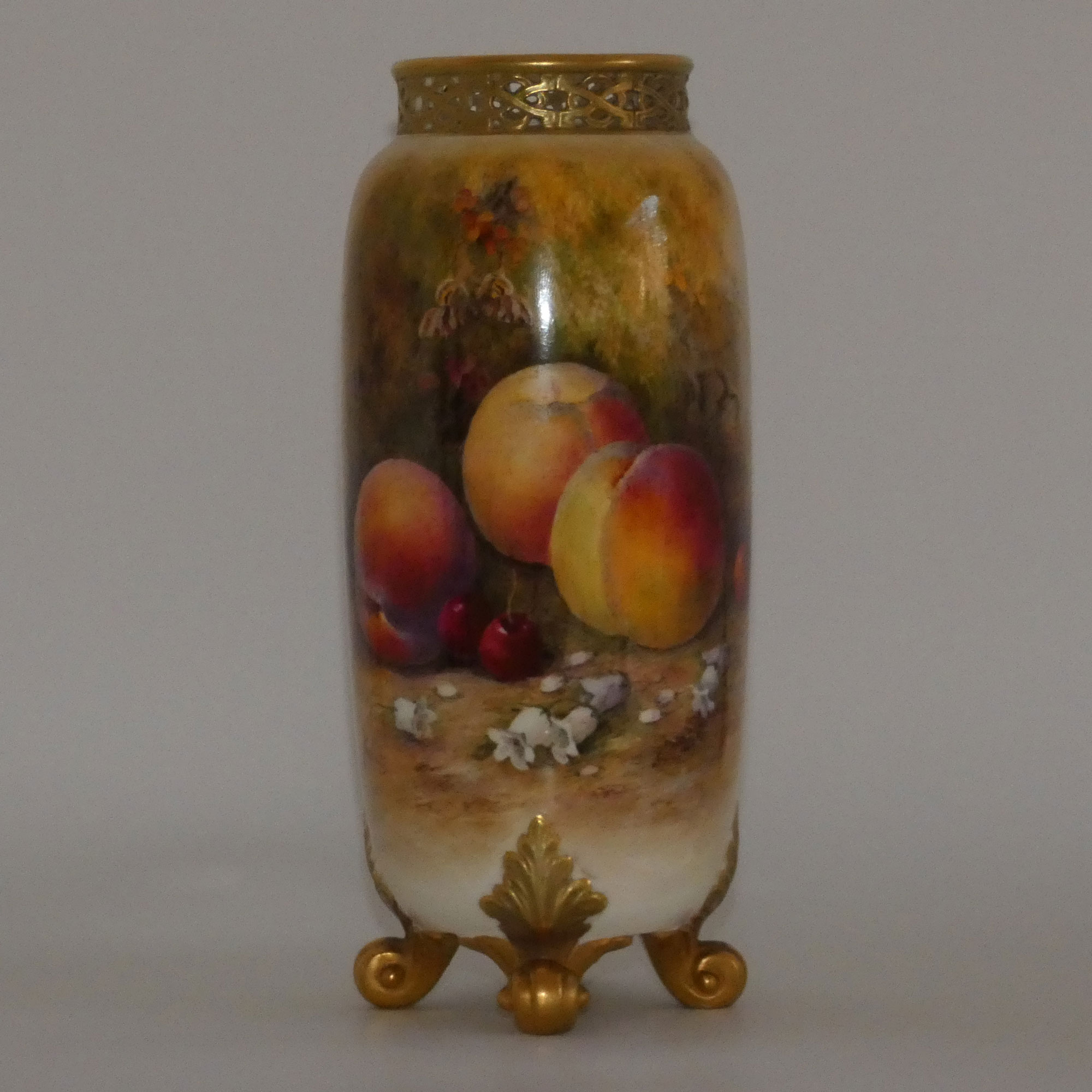 ROYAL WORCESTER FRUIT CYLINDER VASE