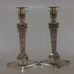 PAIR OF HMSS CANDLESTICKS BY GEO III ROBERT ADAM
