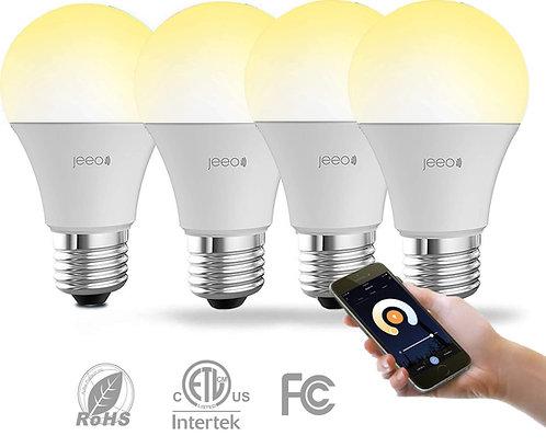 Jeeo Smart WIFI White Lights with Alexa & Google Home Control - A19 E26 60W Equi