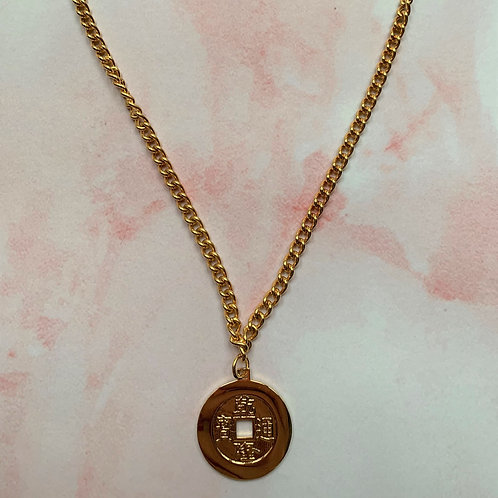 Chinese Coin Gold Chain Necklace
